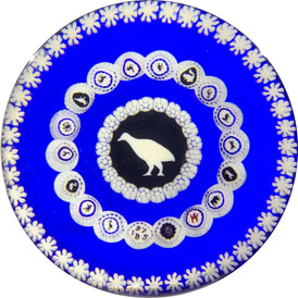 Baccarat 1975 Partridge Gridel Silhouette with Concentric Silhouette Canes & Millefiori on Blue