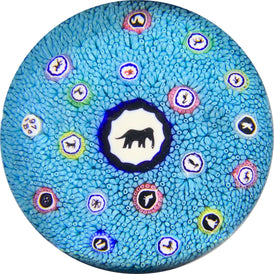 Baccarat 1970 Blue Millefiori Carpet Ground with Large Elephant Gridel Cane Center and Scattered Silhouettes