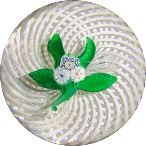 Antique New England Glass Co. NEGC Millefiori Nosegay on White Spiral Filigree Basket