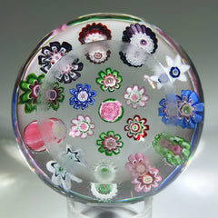 Antique Clichy Art Glass Paperweight Open Concentric Complex Millefiori w/ Roses