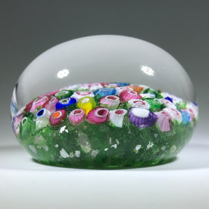 Rare Antique Riedel Art Glass Paperweight Closepack Millefiori on Green w/ Mica