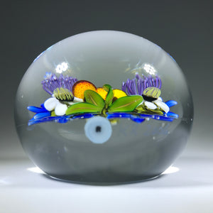 Signed Ken Rosenfeld Art Glass Paperweight Three Dimensional Lampwork Flower Bouquet