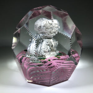 Large Antique Bohemian Art Glass Faceted Paperweight Dog Sulphide on Pink Cushion