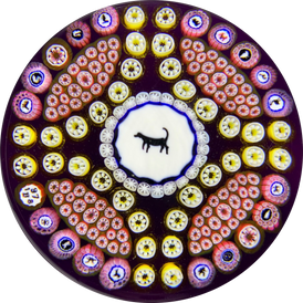 Baccarat 1978 Dog Gridel Silhouette with Patterned Silhouette Canes & Millefiori on Purple