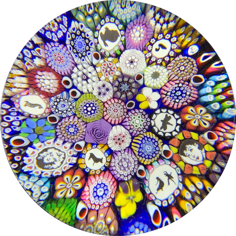 Michael Hunter Twists Studio 2019 Art Glass Paperweight Millefiori Closepack with Murrine & Silhouette Canes