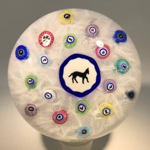 Modern Baccarat Art Glass Paperweight Gridel Silhouette Millefiori Horse