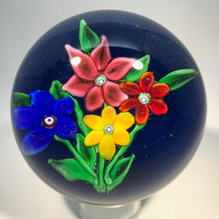 Signed Ronald Hansen Art Glass Paperweight Lampwork Flower Bouquet