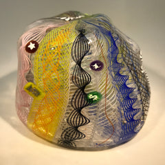 Rare Ro Purser & Richard Marquis Noble Effort Art Glass Paperweight Murrini & Latticino