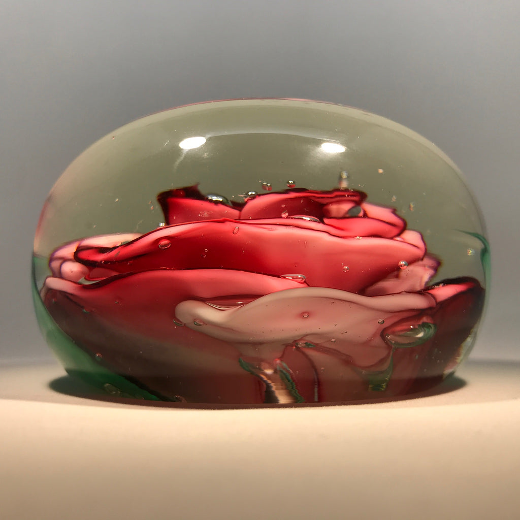 Huge Vintage Murano Crimp Rose Style Art Glass Paperweight