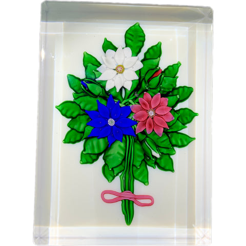 Saint-Louis 1984 Rectangular Plaque Lampwork Flower Bouquet on Opaque White Ground