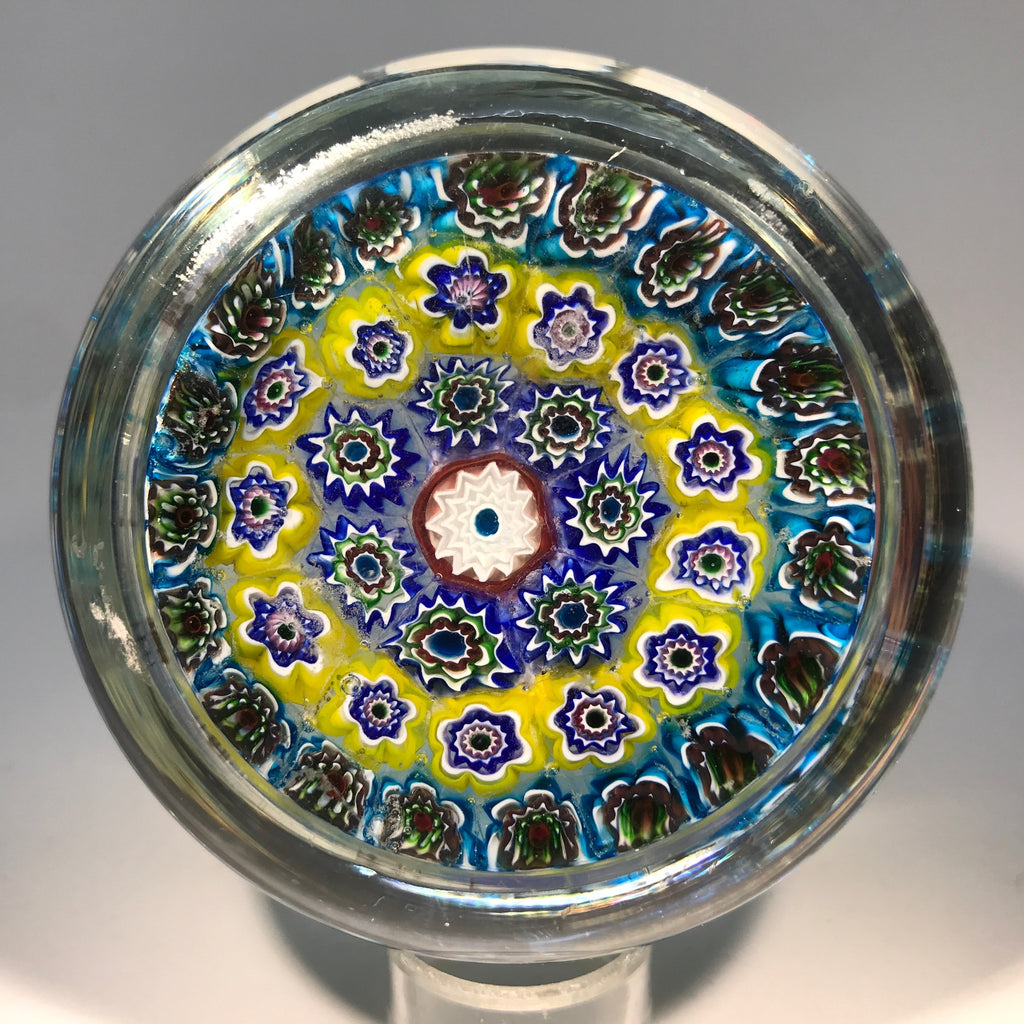 Vintage Murano Ferro Lazzarini Art Glass Paperweight JFK Sulphide on Millefiori