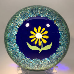 Vintage Murano Art Glass Paperweight Hand-Painted Flower with Complex Millefiori