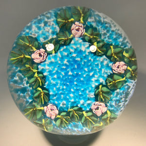 Vintage Murano Fratelli Toso Art Glass Paperweight Rose Cane Garland on Blue
