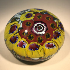 Vintage German Art Glass Paperweight Concentric Complex Millefiori