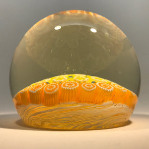 Vintage Murano Art Glass Paperweight Concentric Yellow & Orange Millefiori