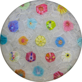 Baccarat 1971 Spaced Complex Millefiori on Upset Muslin Ground