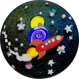 Mayauel Ward 2019 Compound Torchwork Buck Rogers Space Ship, w/ Planets & Stars On Dichroic Ground