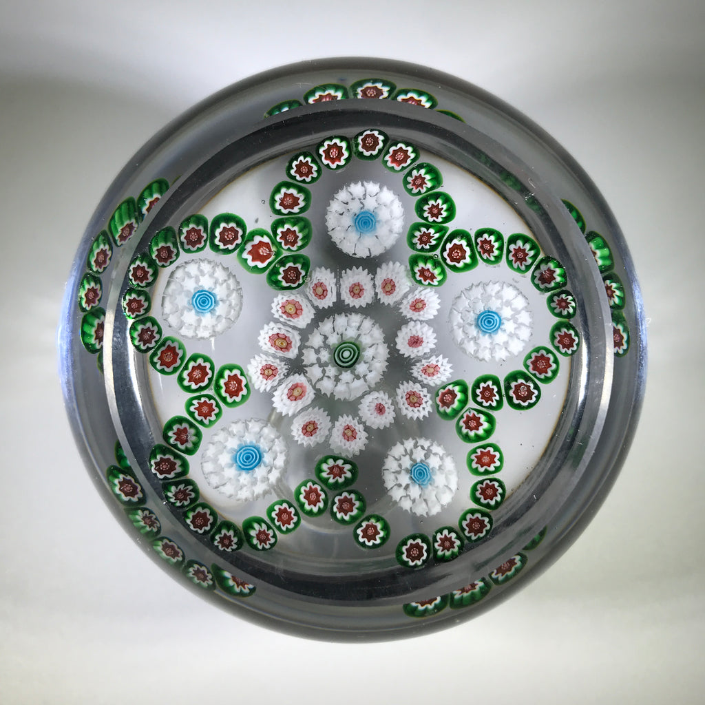 Antique Baccarat Art Glass Paperweight Complex Millefiori Garland