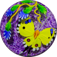 Mayauel Ward 2019 Compound Torchwork Yellow Swallowtail Butterfly with Blue Blossom on Purple Ground