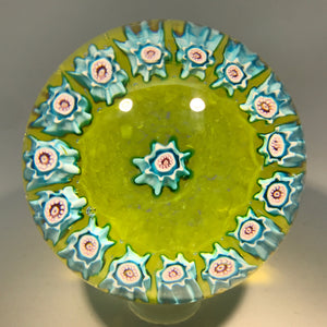 Vintage Murano Fratelli Toso Art Glass Paperweight Complex Millefiori Garland on Green