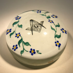 Antique Albert Graeser Art Glass Paperweight Hand-Painted Freemason Plaque