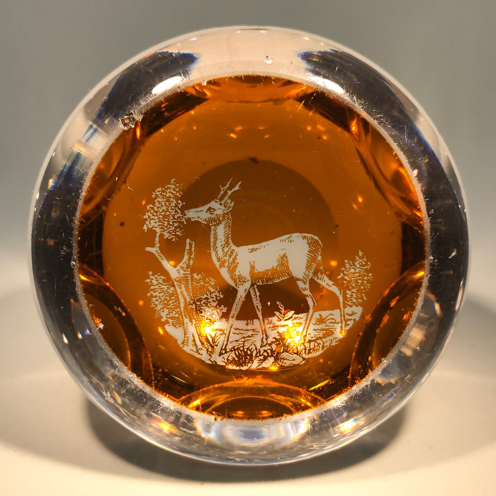 Antique Baccarat Faceted Art Glass Paperweight Amber Engraved Young Stag