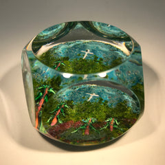 Modern Unknown European Art Glass Paperweight Crush Glass with Lampwork Trees & Cross