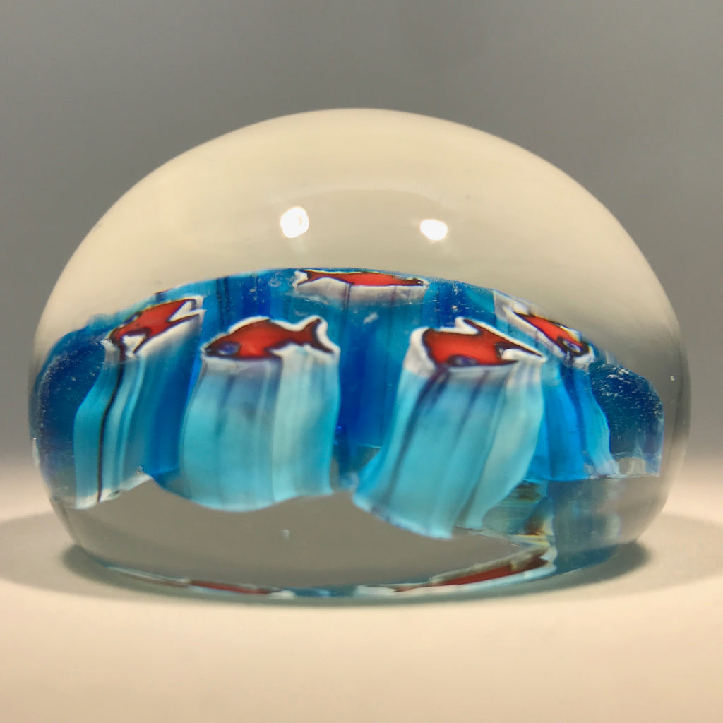 Miniature Murano Art Glass Paperweight House of Goebel Figural Red & Blue Fish Canes