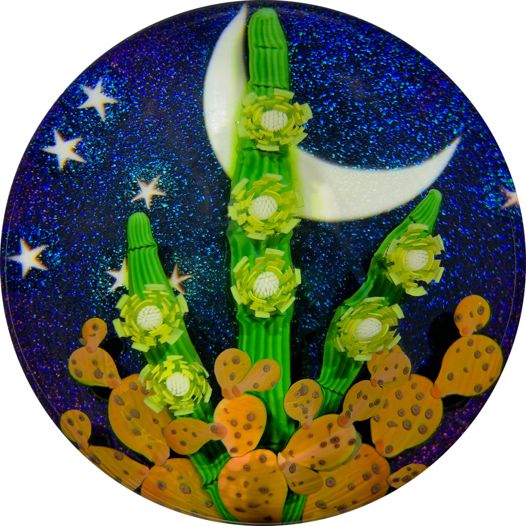 Steven Lundberg 1994 Compound Torchwork Blooming Cactus Against a Night Sky