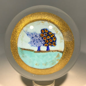 Unusual Murano Art Glass Paperweight Large Tree Murrine on Gold Aventurine