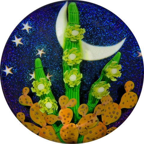 "Steven Lundberg 1994 Compound Torchwork Blooming Cactus Against a Night Sky ""Queen of the Night"""