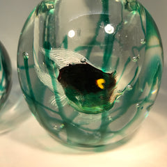 Mid-Century Murano Art Glass Paperweight Fish Cigarette Holder and Lighter Set