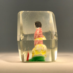 Rare Early Chinese Art Glass Paperweight Hand-Painted Sulphide Seated Monk
