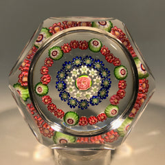Antique Clichy Faceted Art Glass Paperweight Concentric Millefiori with Rose Cane