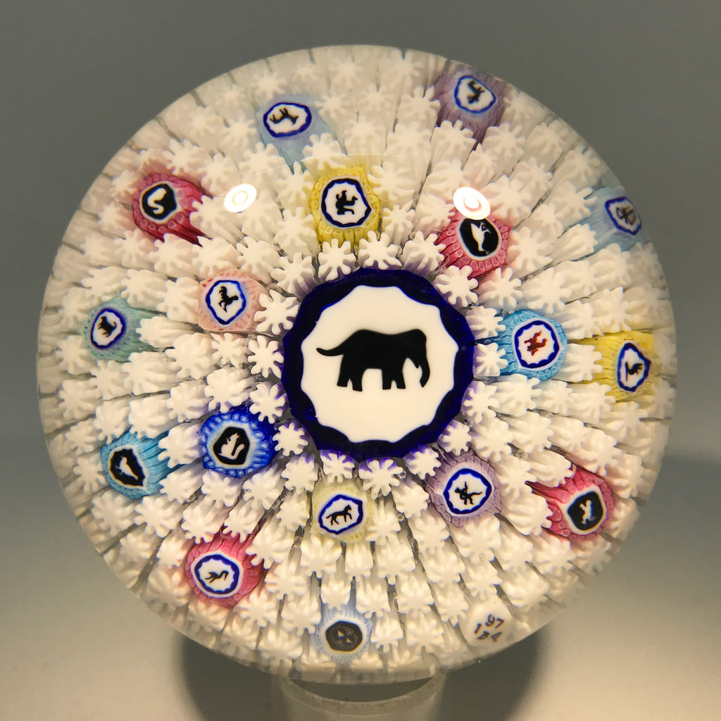 Baccarat Art Glass Paperweight 1974 Elephant Gridel Millefiori Carpet Ground