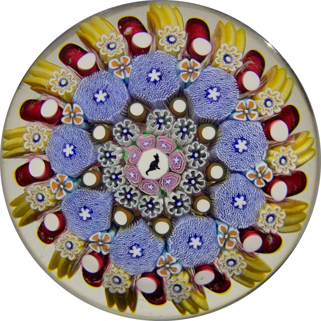 Damon MacNaught 2019 Concentric Millefiori with Cat Silhouette & Roses