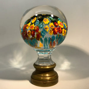 Unknown Maker Early 20th Century Millefiori Art Glass Paperweight Newel Post Finial