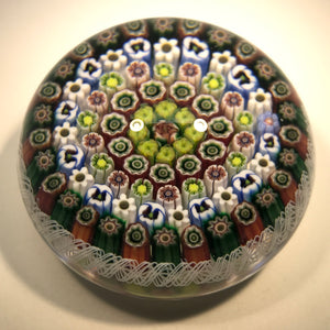 Parabelle Art Glass Paperweight Close Concentric Millefiori with Pansy Canes