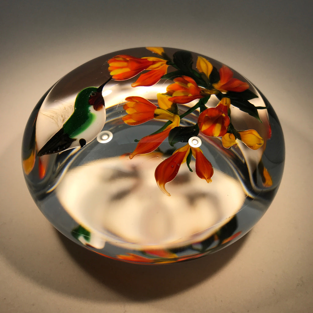 Signed Rick Ayotte Art Glass Paperweight Lampwork Hummingbird at Flower