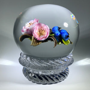Signed Victor Trabucco Art Glass Paperweight Lampwork Blueberry Flower Piedouche