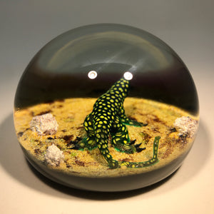 Signed William Manson Art Glass Paperweight Aventurine Spotted Lizard