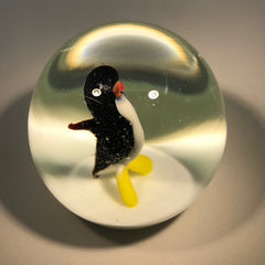 Rare Murano Ferro Lazzarini Lampwork Penguin on White Ground