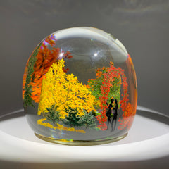 "Contemporary Alison Ruzsa Art Glass Paperweight Encapsulated Hand Painted ""Autumn Arbor"""