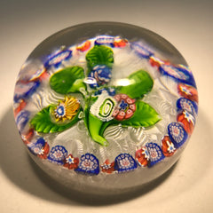 Antique Saint Louis Art Glass Paperweight Millefiori Nosegay on Upset Muslin