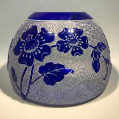 Antique Val St. Lambert Art Glass Paperweight Floral Engraved Blue Overlay