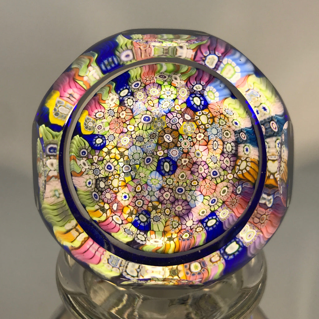 Vintage Perthshire Art Glass Paperweight Bottle Faceted Closepack Millefiori