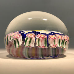 Early Murano Art Glass Paperweight Concentric Millefiori With Rose Canes