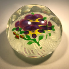 Early 20th Century Chinese Art Glass Paperweight Lampwork Pansy on Filigree Basket