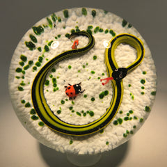 Vintage John Gentile Henry Johnson Art Glass Paperweight Snake & Ladybug