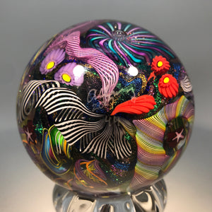 "Huge Signed James Alloway Art Glass Marble Dichroic Millefiori & Twists ""Dichrodellic"""